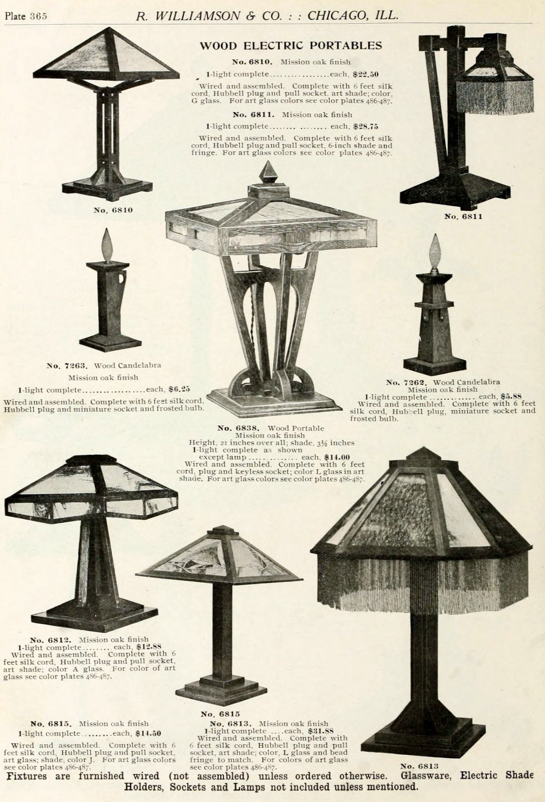 Antique lamp designs from around 1910 (3)
