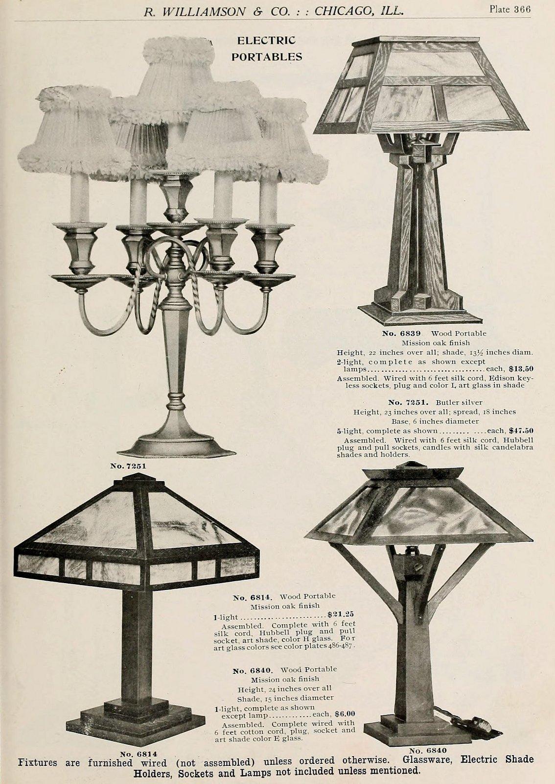 Antique lamp designs from around 1910 (4)