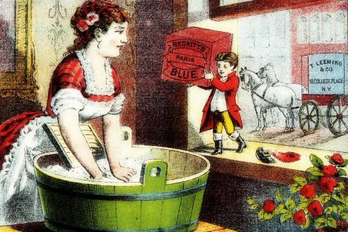 Antique laundry washboard postcard - Victorian 1800s