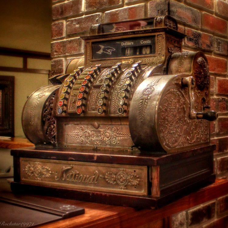 Vintage metal cash register from the 1900s