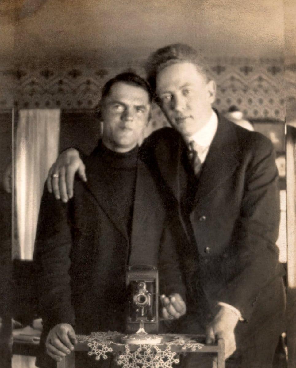 Antique mirror selfie - Two men c1900s at ClickAmericana com