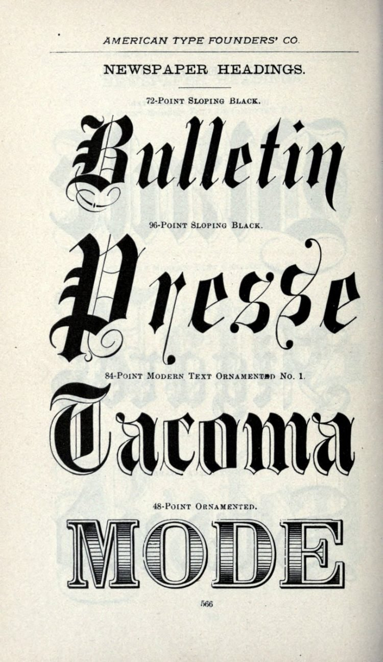 Antique newspaper typefaces - Old font styles