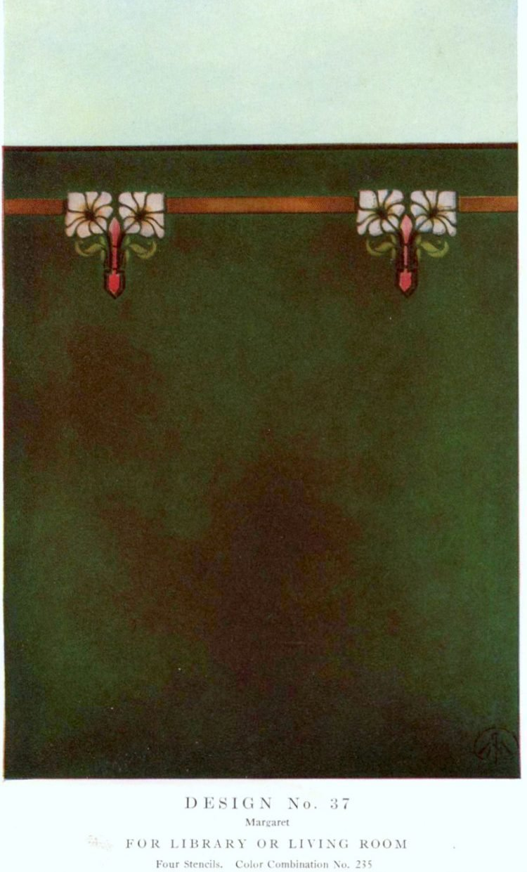 Antique painted stencil home decor from 1914 (2)
