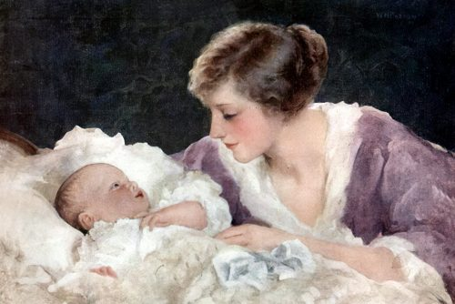 Antique painting of a mother and baby (1916)