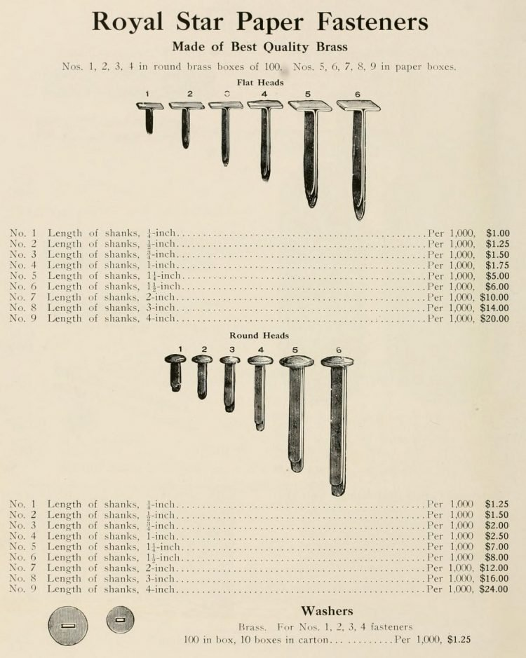Antique paper fasteners from 1912