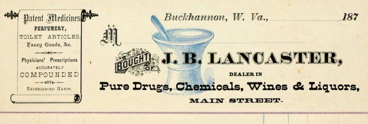 Antique pharmacy prescription form from 1874