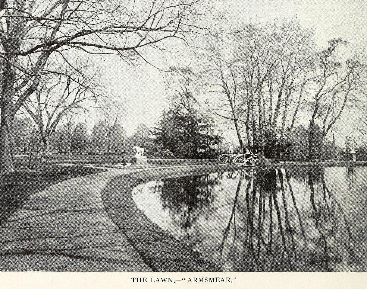 Antique photo of Armsmear's lawn - Garden
