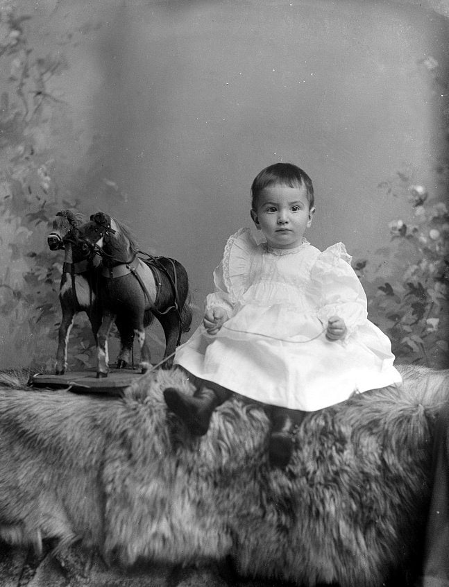 Antique portrait of baby C. Fleming Jr in the 1890s