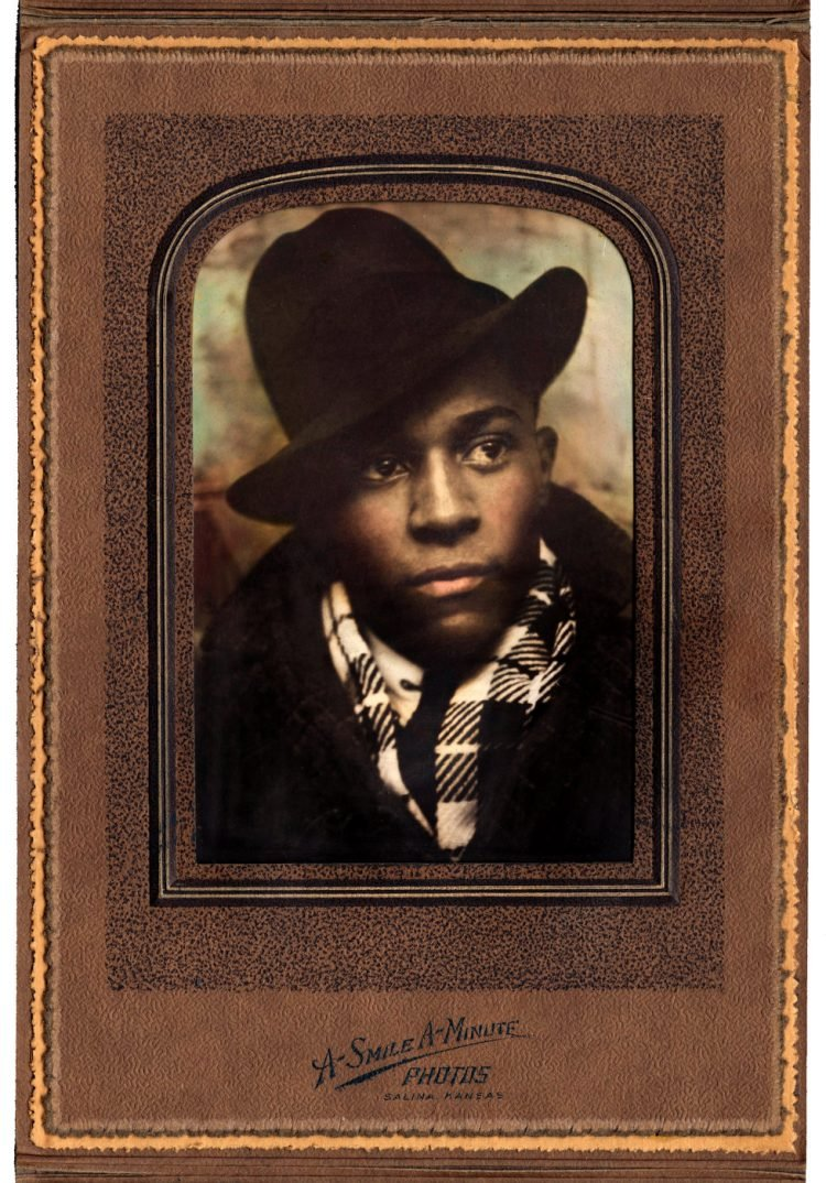 Handpainted photograph of Theo Lane, a member of the Smith family