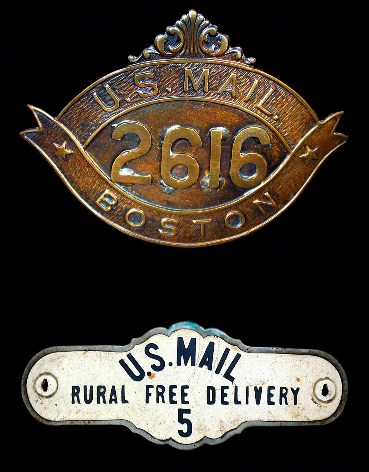 Antique postal worker badges - Rural free delivery and US Mail Boston