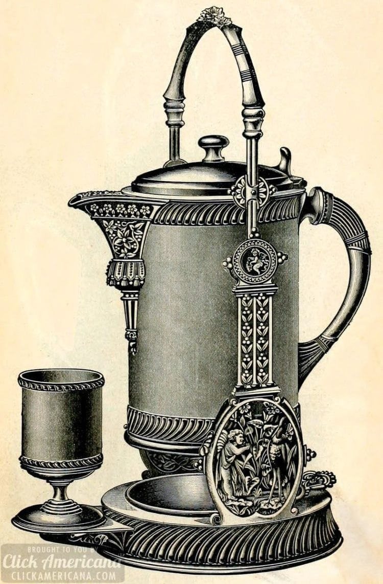 Antique silver tilting water pitcher set from 1889
