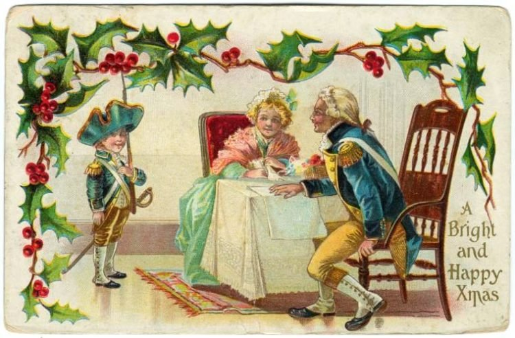 Antique scene on a Christmas postcard from 1914 - A bright and happy Xmas