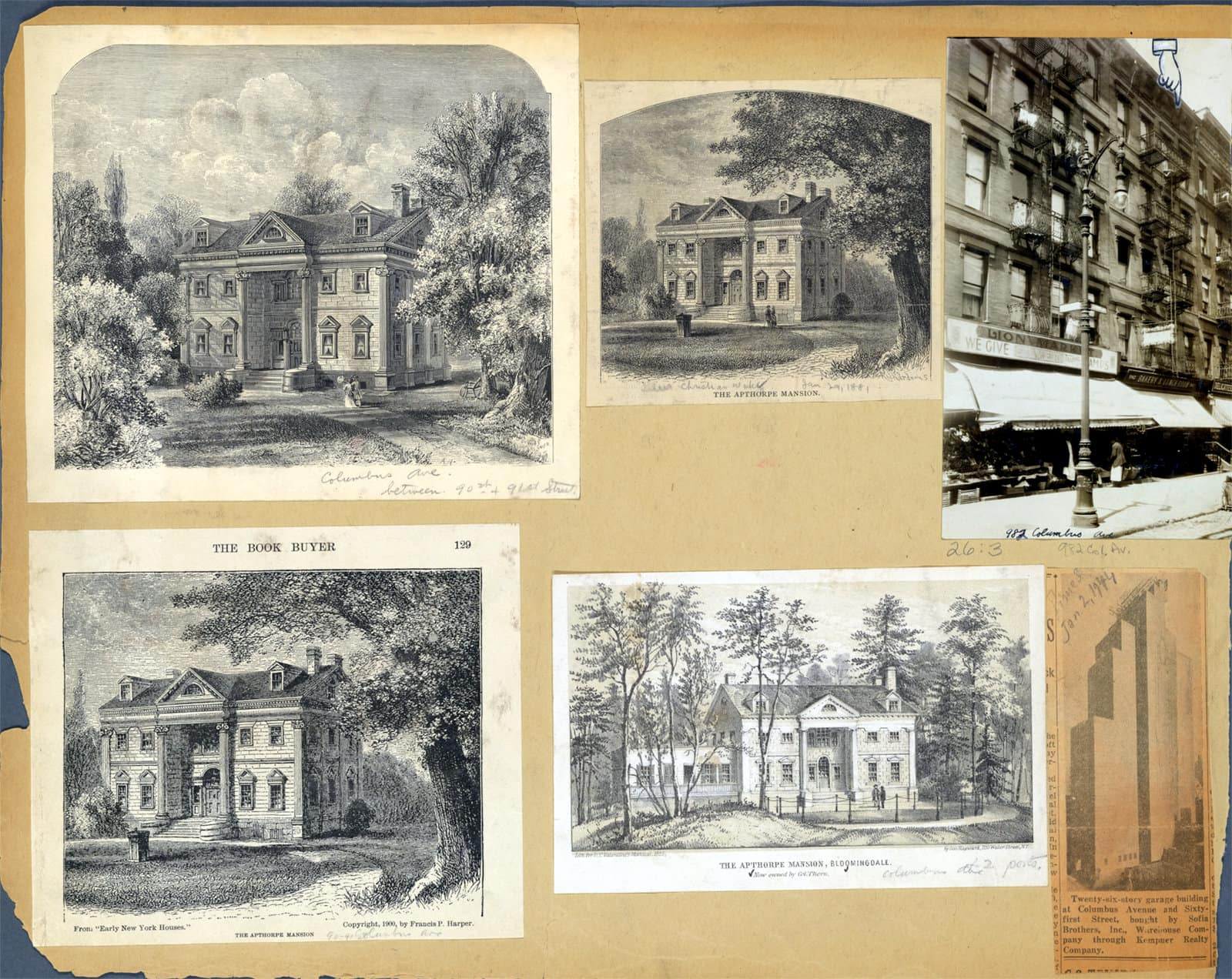 Antique scrapbook of old houses and street scenes