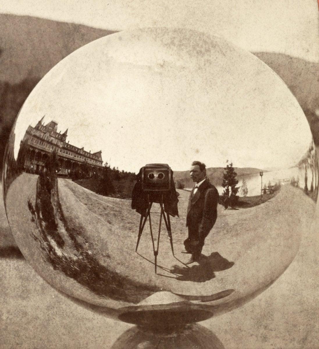 Antique selfie - Globe reflection in Glen's Falls New York (1870s) at ClickAmericana com