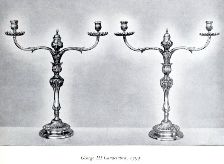 Antique silver George III candelabras from 1794