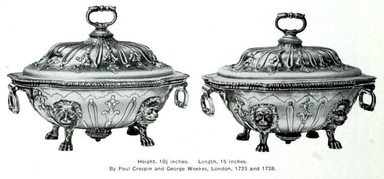 Antique silver covered dishes