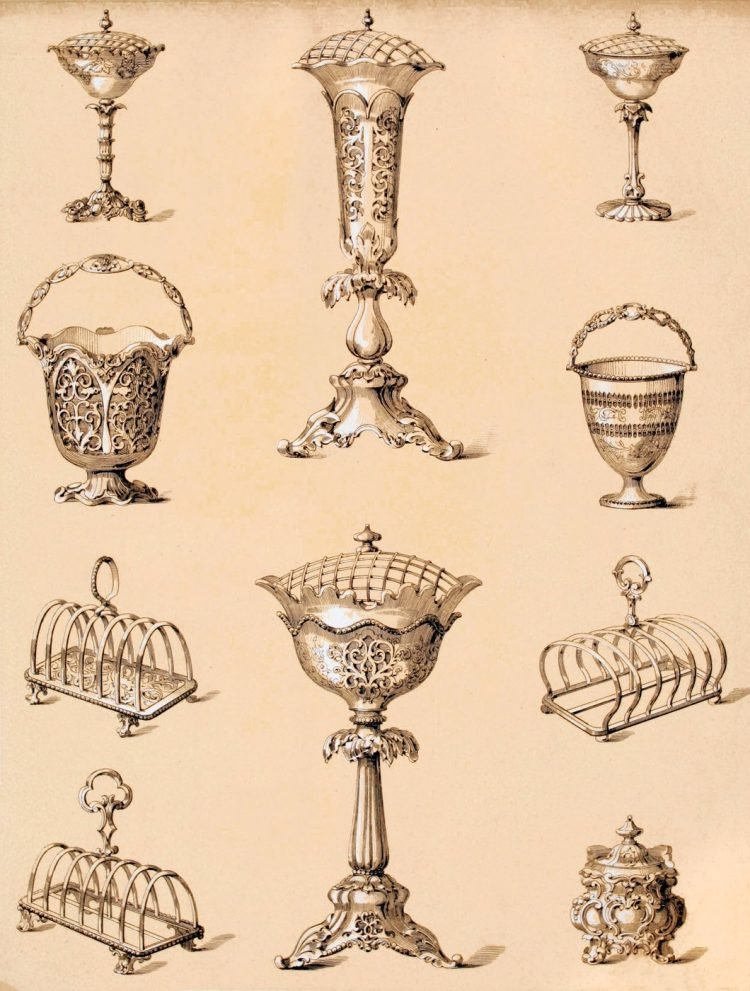 Antique silver flower vases and Victorian toast racks