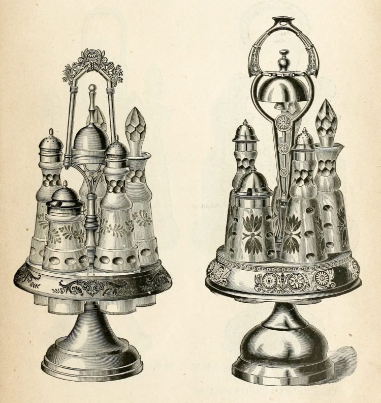 Antique silver seasoning and condiment bottles