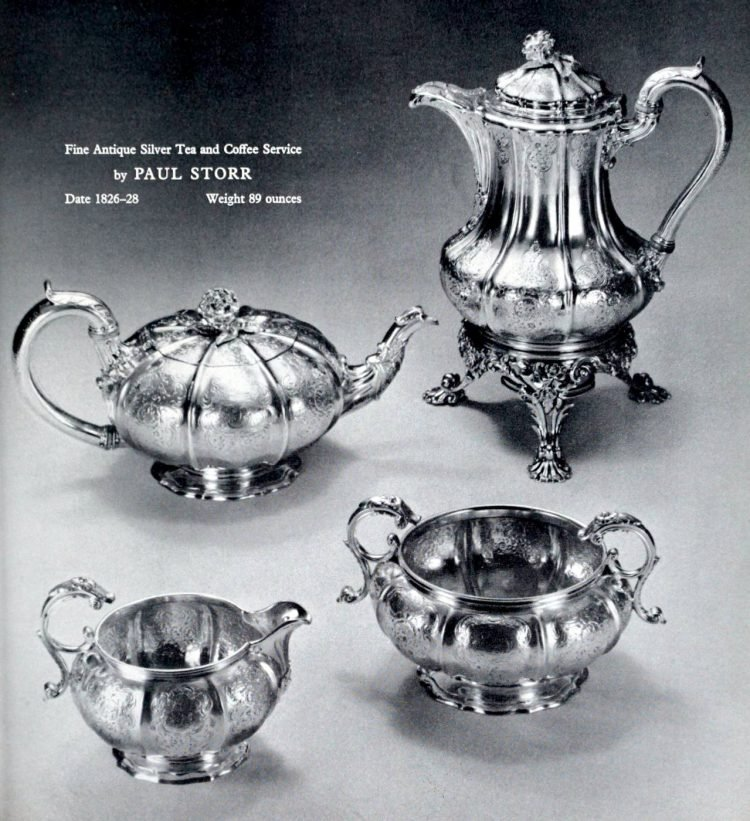 Antique silver tea and coffee service by Paul Storr from the 1820s