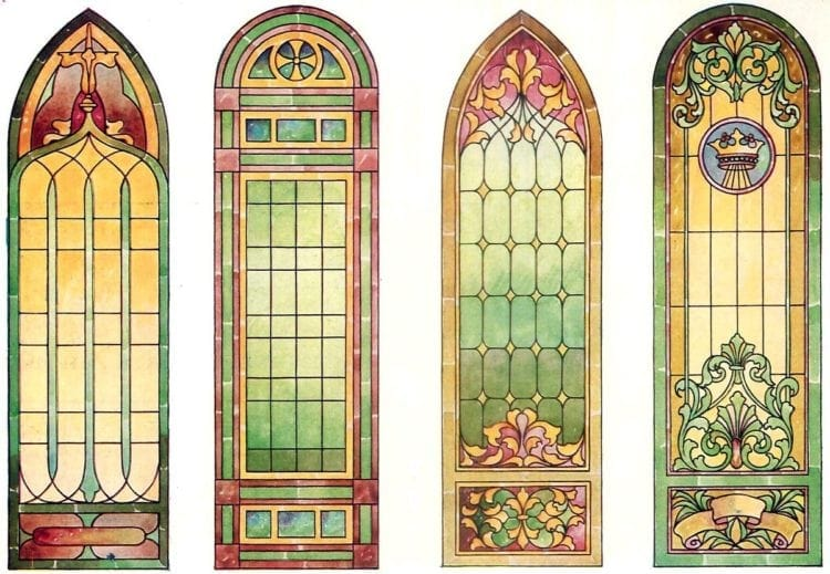 Antique Stained Glass Windows Apply In The Church
