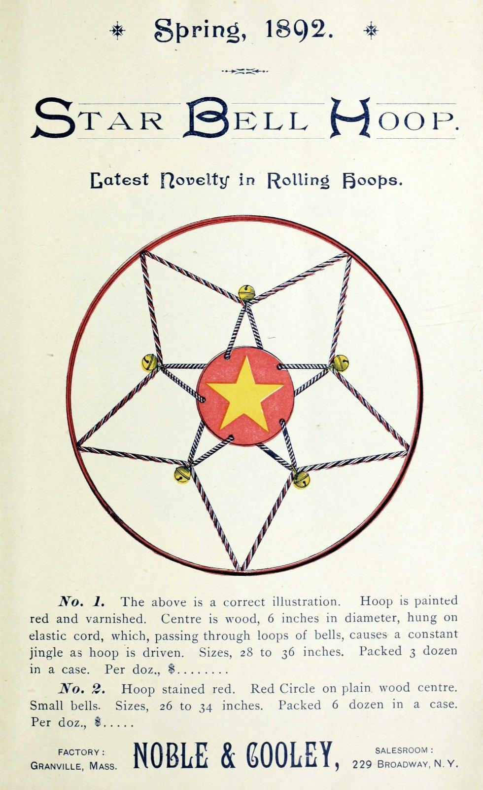 Antique toy from 1892 - Star Bell Hoop rolling hoop