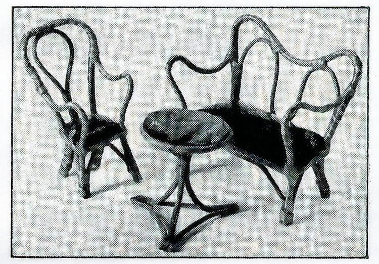 Antique toys - Mini bentwood dollhouse furniture