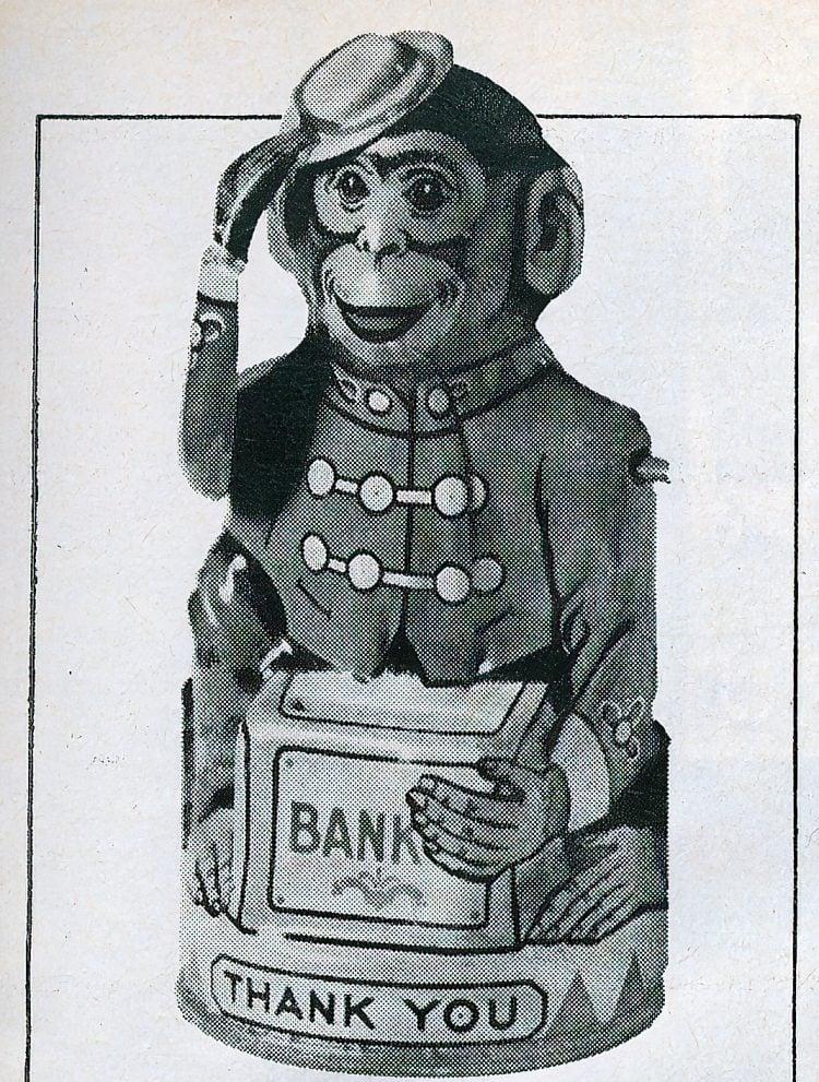 Antique toys - monkey mechanical bank