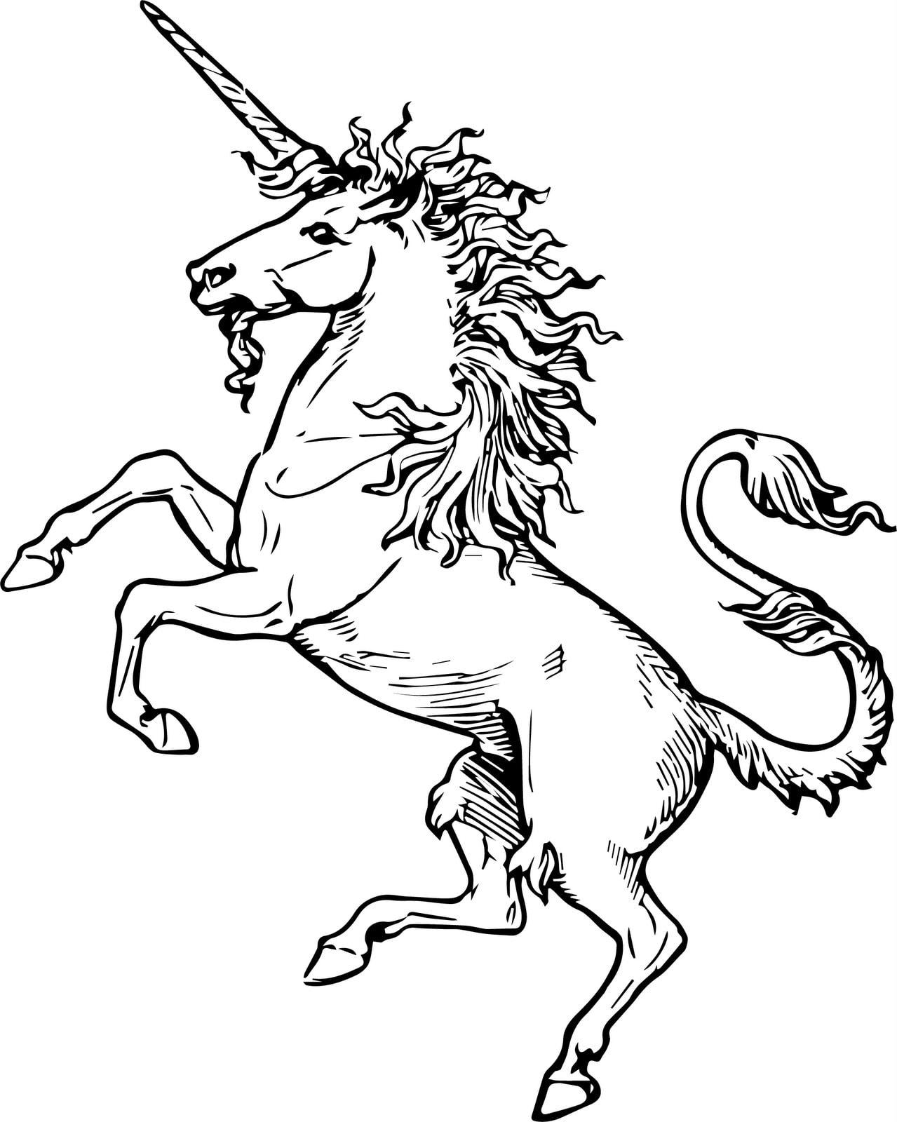 Antique unicorn rearing up