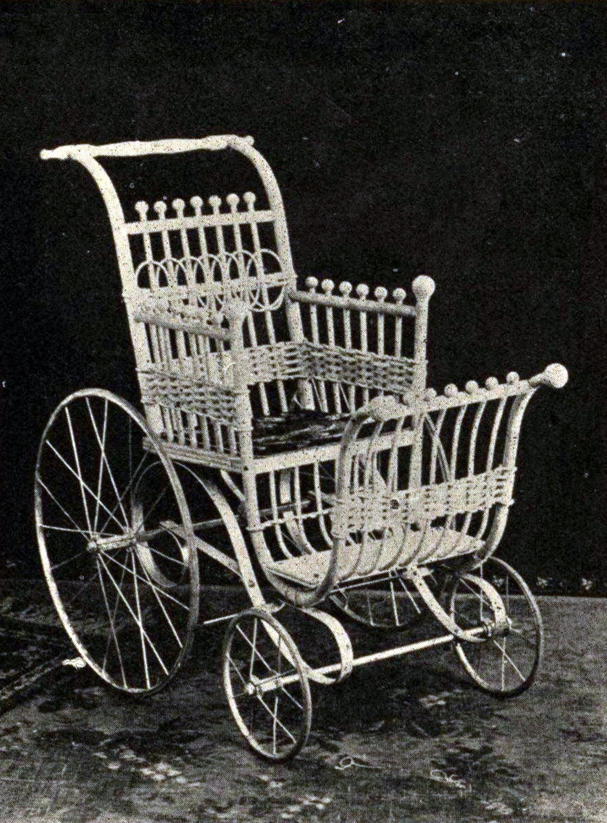 Antique wicker baby stroller from 1900