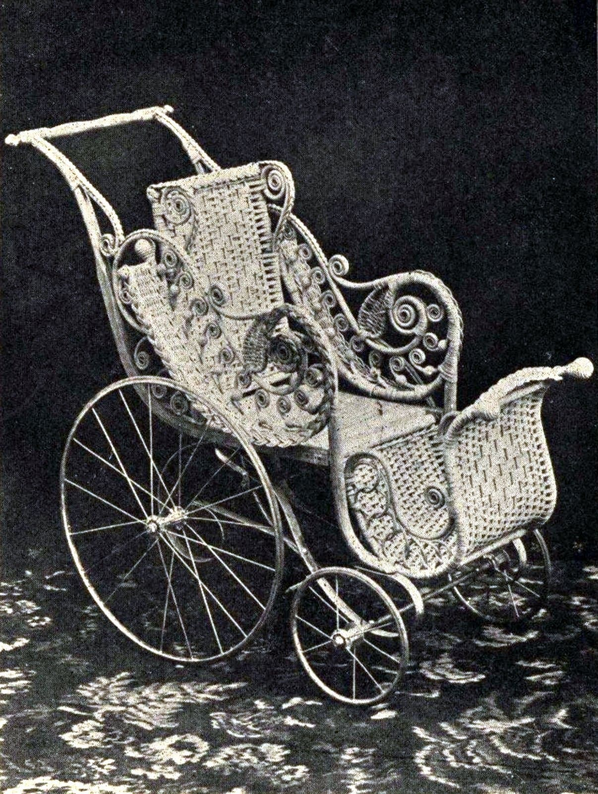 Antique wicker stroller from 1900