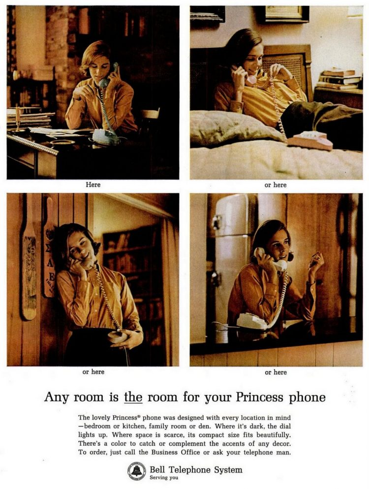 Any room is the room for your Princess phone - Vintage Bell Telephone ad form 1964