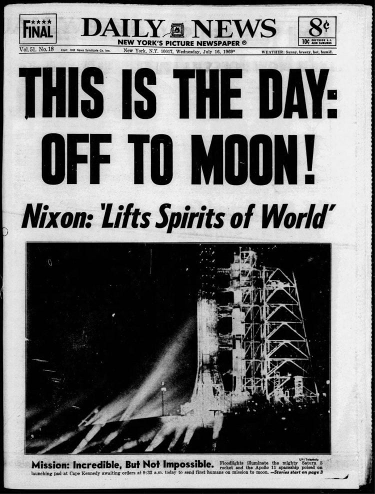 Apollo 11 launch - Moon - Daily News newspaper front page - July 16 1969