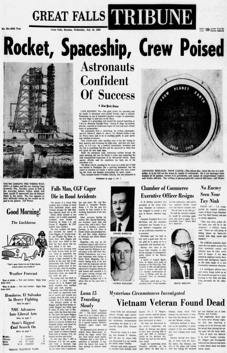 Apollo 11 launch - Moon - Great Falls Tribune newspaper front page - July 16 1969