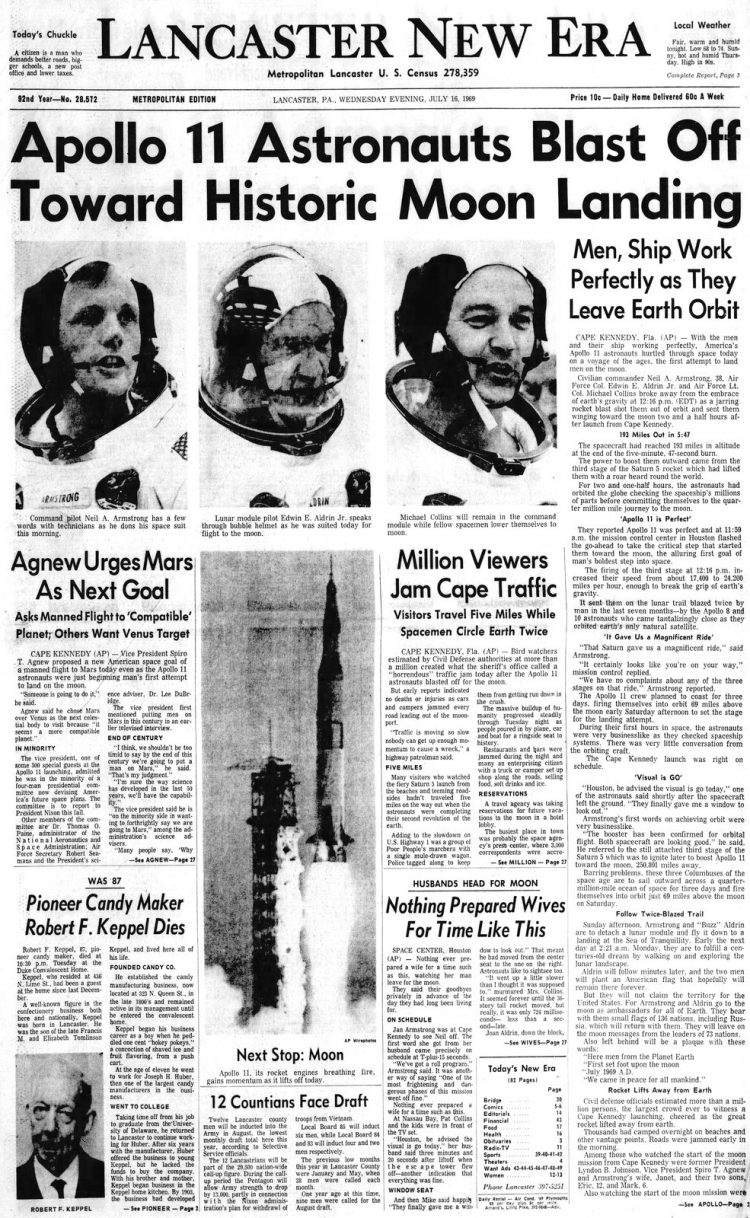 Apollo 11 launch - Moon - Lancaster New Era newspaper front page - July 16 1969