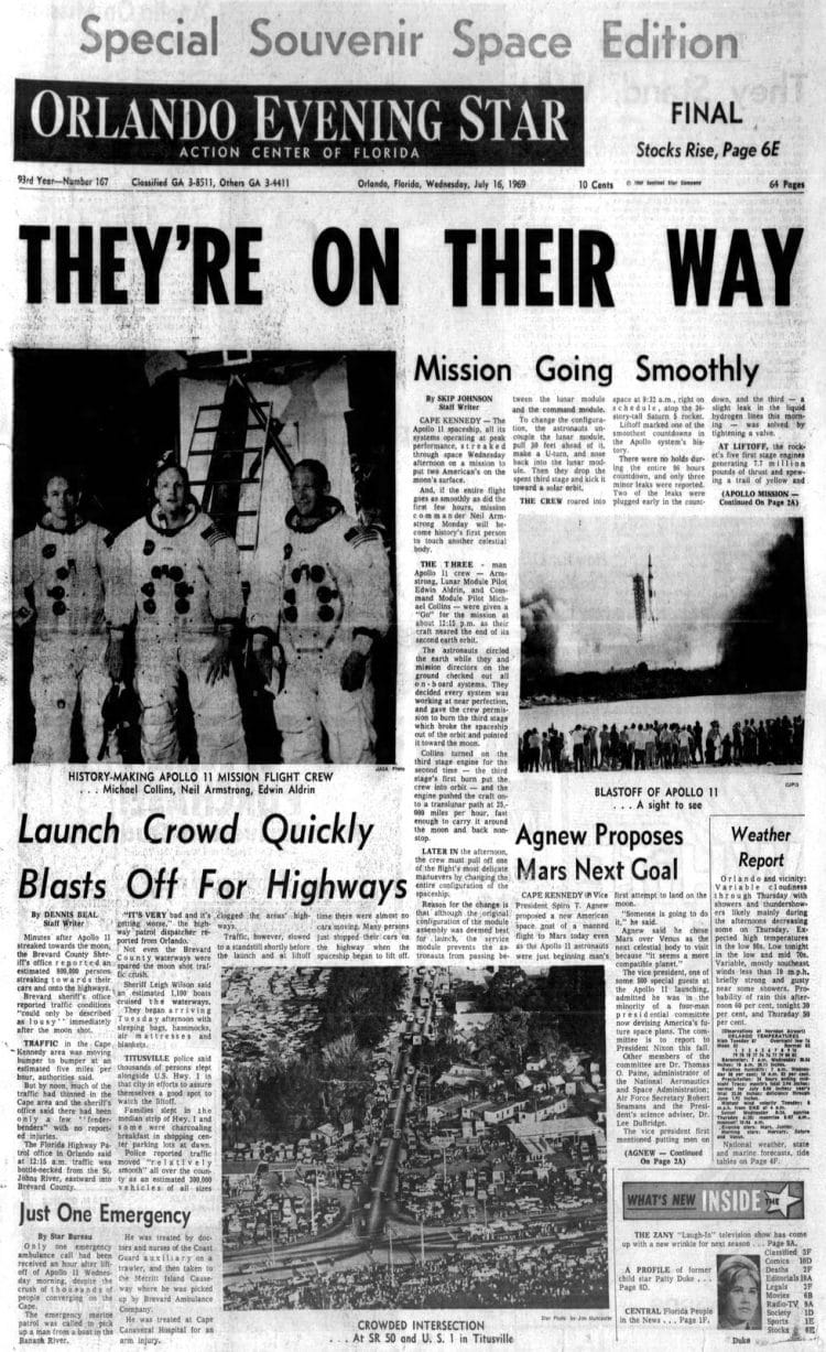 Apollo 11 launch - Moon - Orlando Evening Star newspaper front page - July 16 1969
