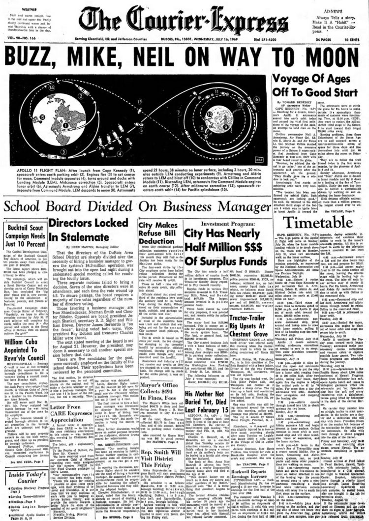 Apollo 11 launch - Moon - The Courier Express newspaper front page - July 16 1969