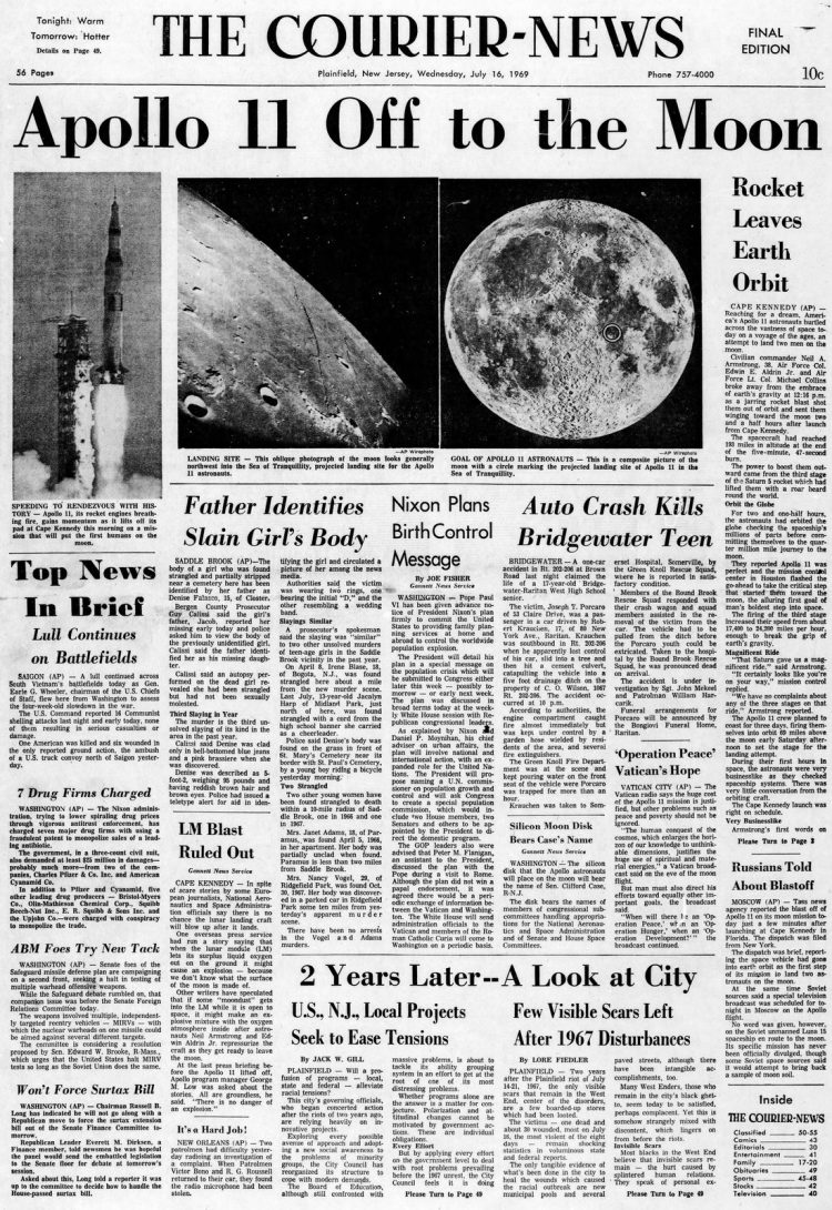 Apollo 11 launch - Moon - The Courier News newspaper front page - July 16 1969