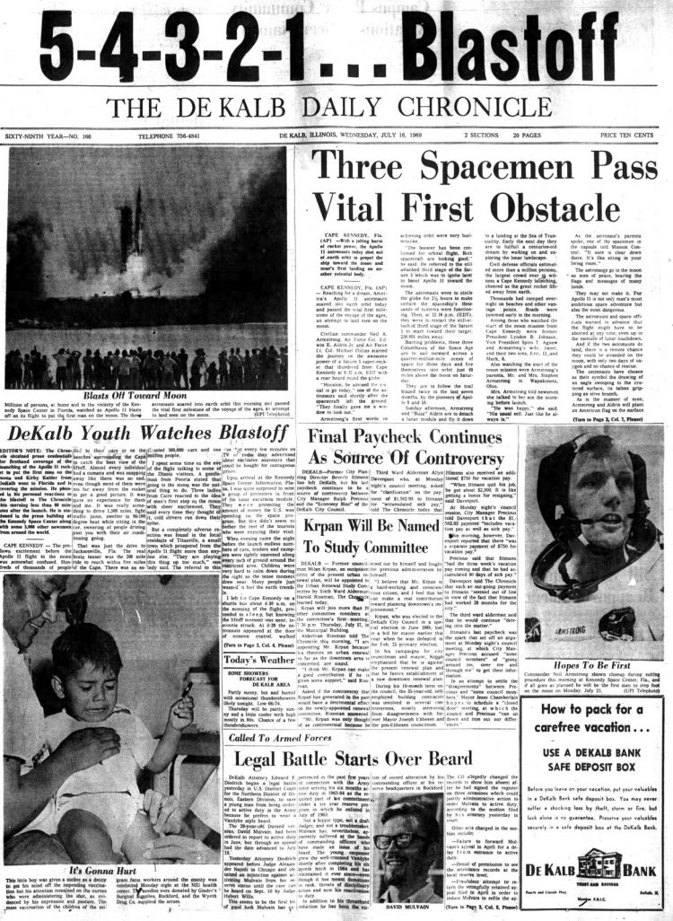Apollo 11 launch - Moon - The Daily Chronicle newspaper front page - July 16 1969