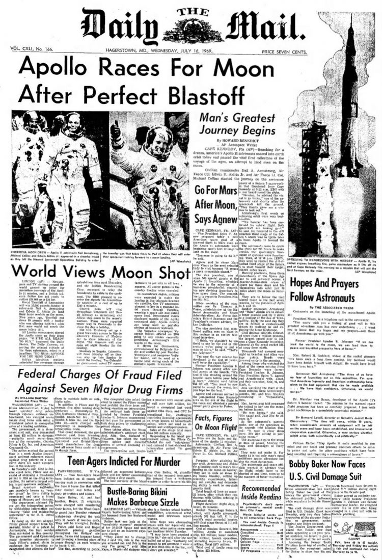Apollo 11 launch - Moon - The Daily Mail newspaper front page - July 16 1969