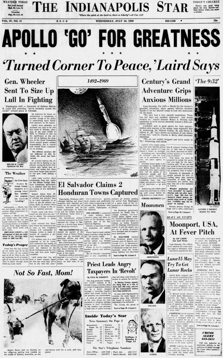 The Indianapolis Star (Indianapolis, Indiana)16 Jul 1969, WedPage 1 i