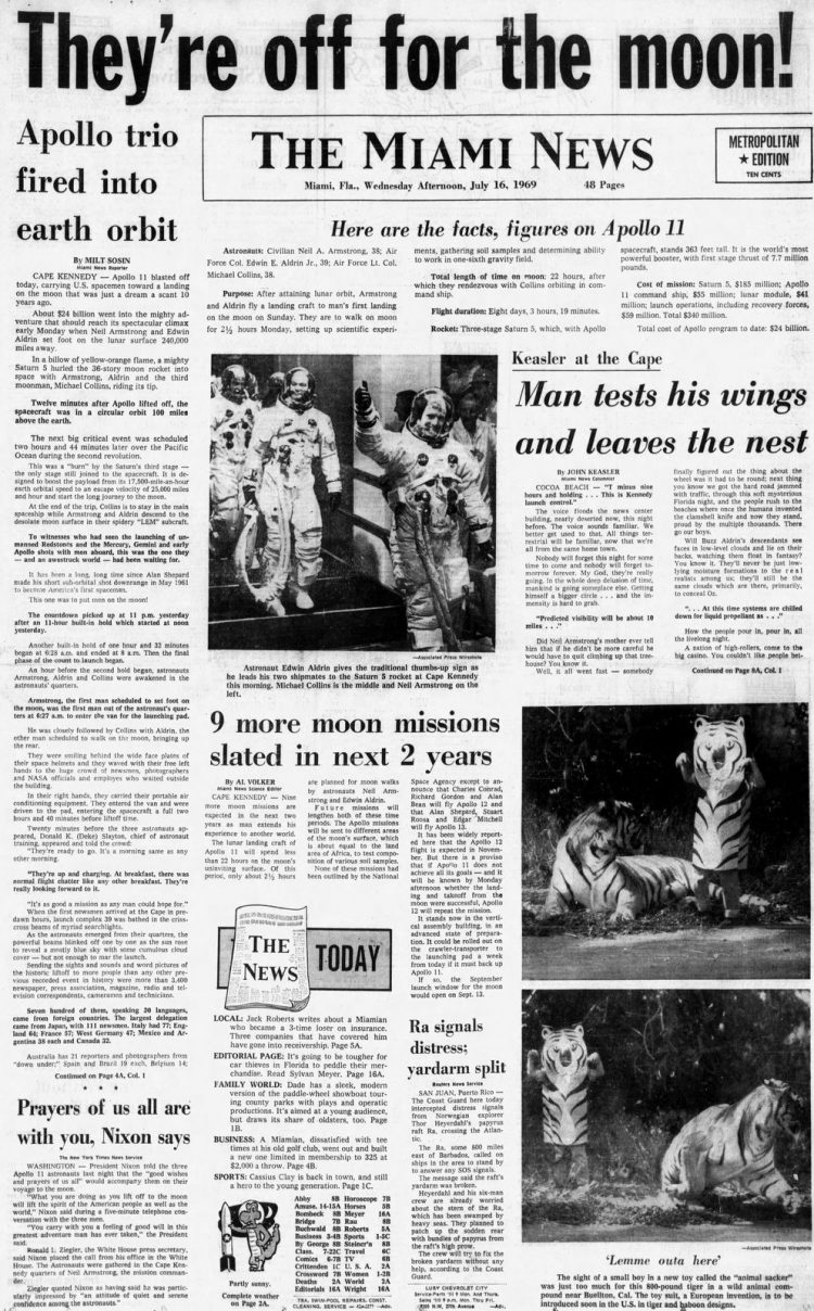 Apollo 11 launch - Moon - The Miami News newspaper front page - July 16 1969