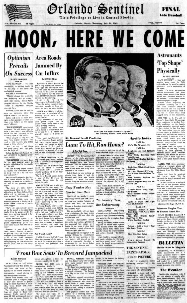 Apollo 11 launch - Moon - The Orlando Sentinel newspaper front page - July 16 1969