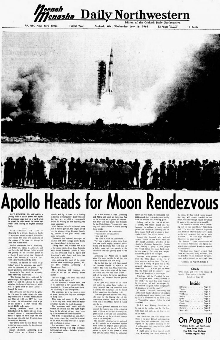 Apollo 11 launch - Moon - The Oshkosh Northwestern newspaper front page - July 16 1969