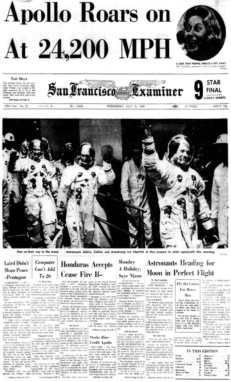Apollo 11 launch - Moon - The San Francisco Examiner newspaper front page - July 16 1969
