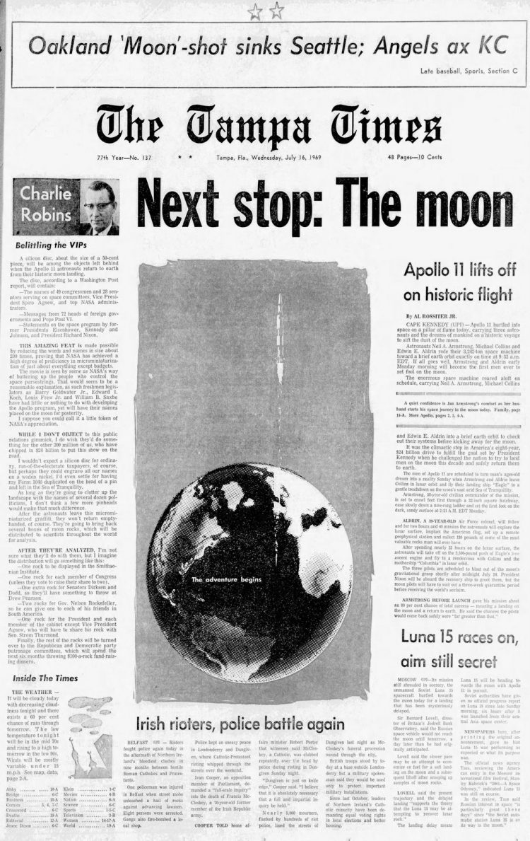 Apollo 11 launch - Moon - The Tampa Times newspaper front page - July 16 1969