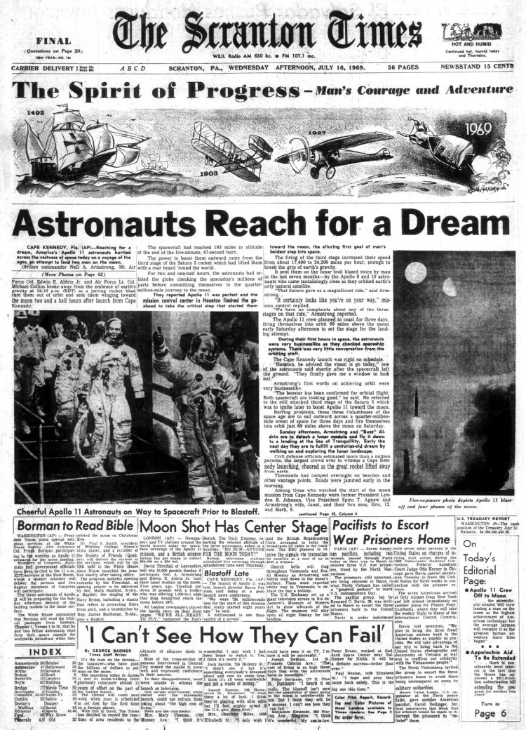 Apollo 11 launch - Moon - The Times Tribune newspaper front page - July 16 1969