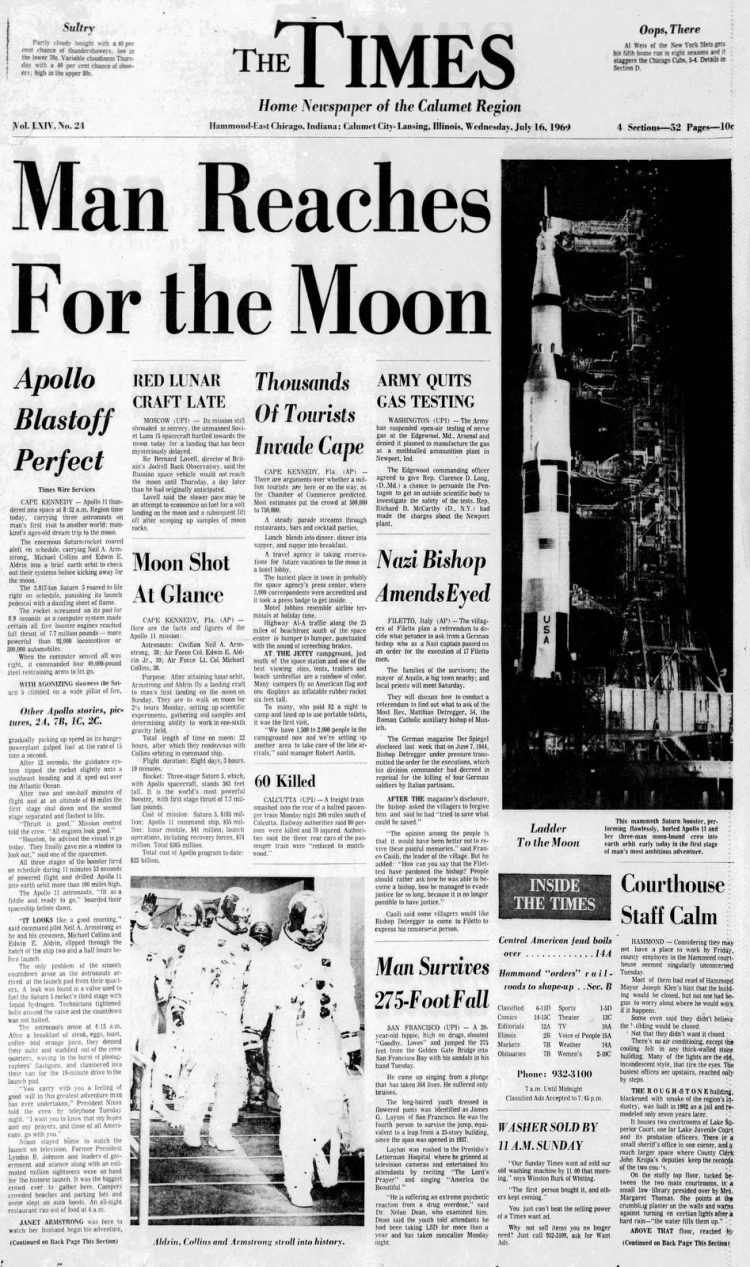 Apollo 11 launch - Moon - The Times newspaper front page - July 16 1969