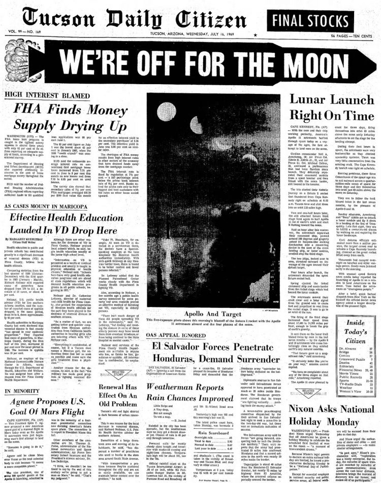 Apollo 11 launch - Moon - Tucson Daily Citizen newspaper front page - July 16 1969