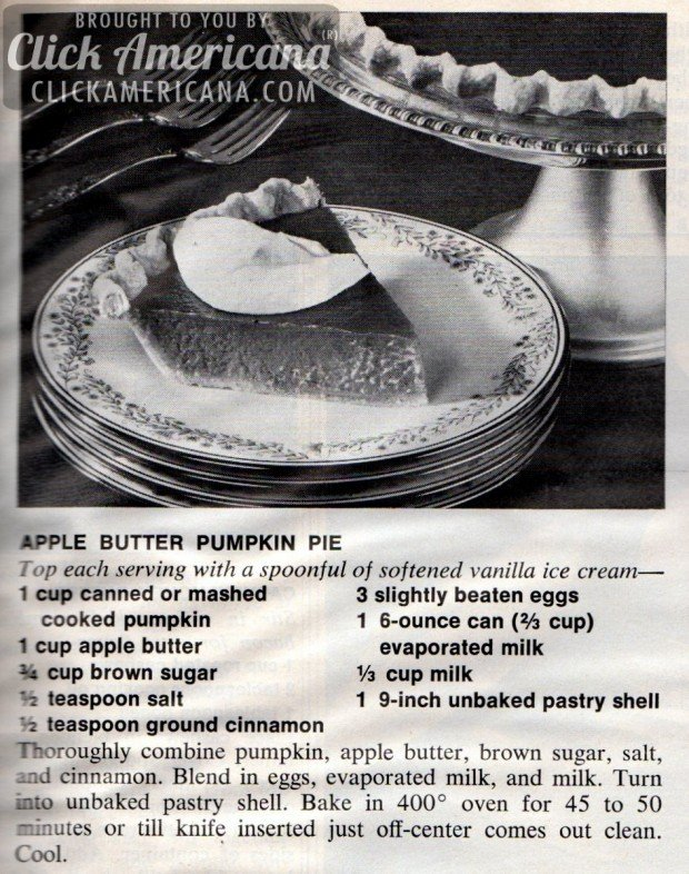 Apple Butter Pumpkin Pie 1972