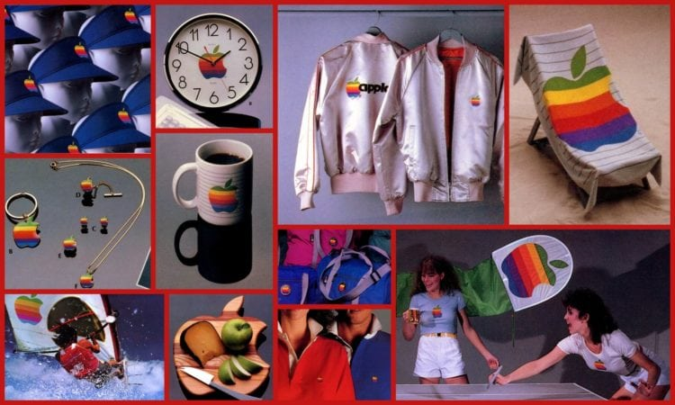 Apple Collection Catalog: Rainbow-logo branded merchandise from 1983